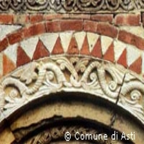 Detail of the pediment S. Nazario church Piedmont Italy
