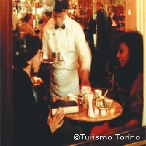 Inside one of the historical caffe in Turin Piedmont Italy