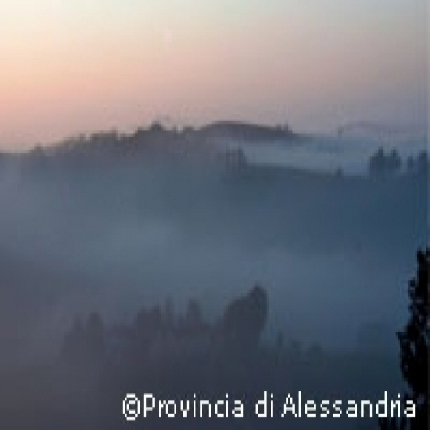 Winter sunset on the Langhe region Piedmont Italy