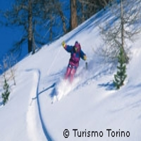 Skiing on the Alps Piedmont Italy