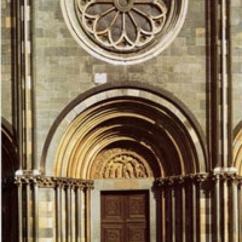Front door of S. Andrea Church Vercelli Piedmont Italy