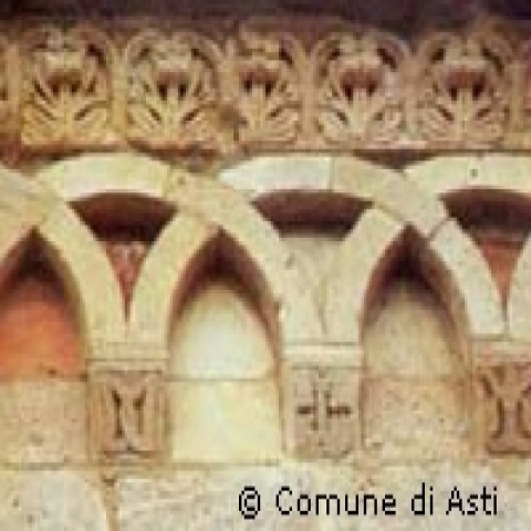 A detail of the apse of a romanesque church in Asti Italy