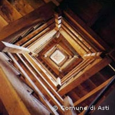 Stairs of high Buttigliera D'Asti bell tower Italy