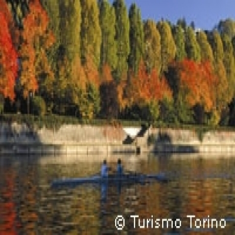Canoeing on kthe Po river Turin Italy