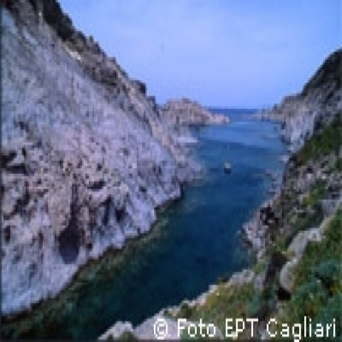 Gorges leading the river to the sea Sardinia Italy