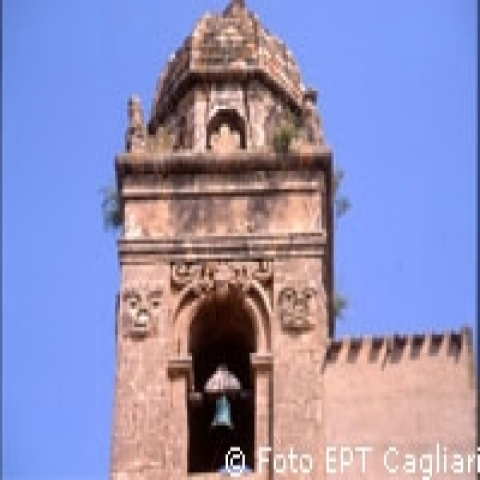 Detail on the decorated bell tower Sardinia Italy
