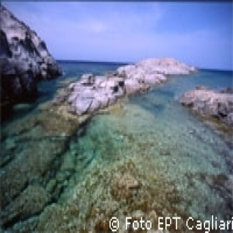 Rocky coast and clear waters Sardinia Italy