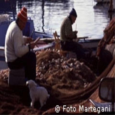 Fishermen at work in one of teh small marinas Sicily Italy