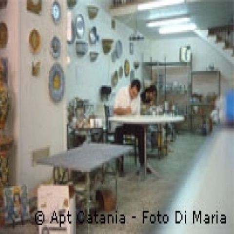 Pottery artisan at work Catania Sicily Italy