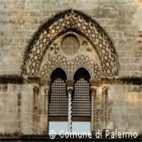 Detail on the mullioned window decorations Palermo Italy