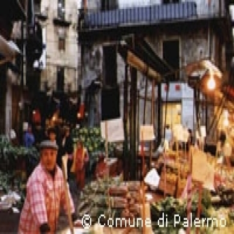 Local market in Palermo Sicily Italy