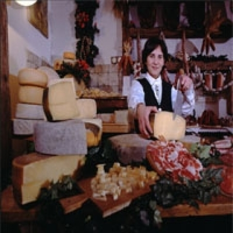 A Deli with delicious cheese from Trentino Alto Adige Italy