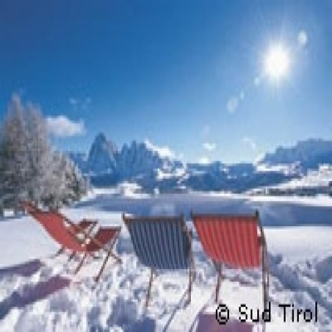 Sunbathing in ski slopes in Trentino Alto Adige Italy