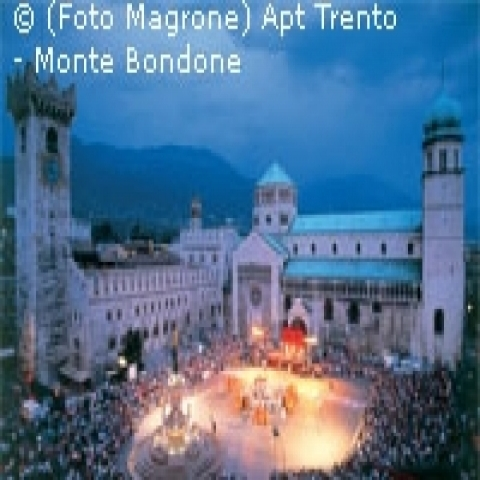 Trento main square during Christmas time Trentino Alto Adige Italy