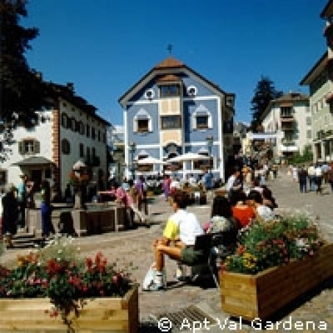 The main square in Selva di Val Gardena near Bolzano Italy