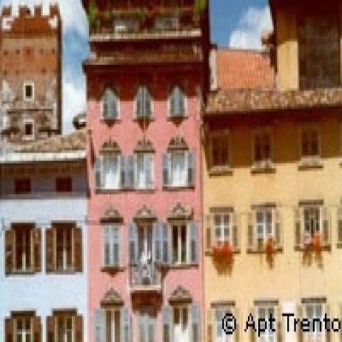 Colored buildings in Trento city center Italy