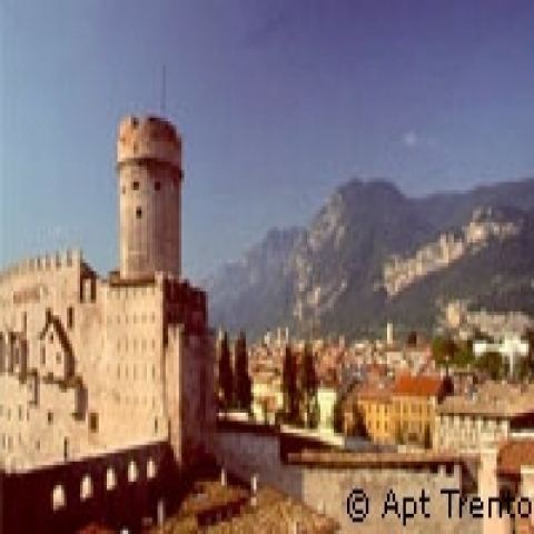 Buonconsiglio castle and Trento mountains Italy