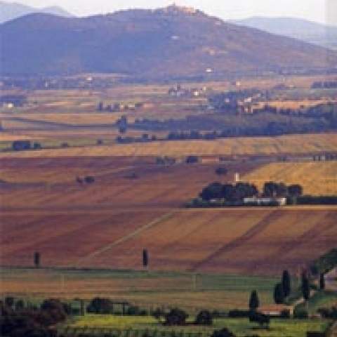 Overview on Maremma countryside Tuscany Italy
