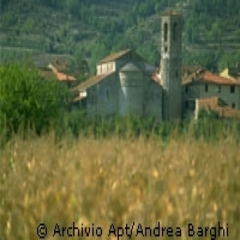 Tuscany countryside with Romanesque church Italy