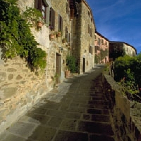A typical alley in Anghiari Tuscany Italy