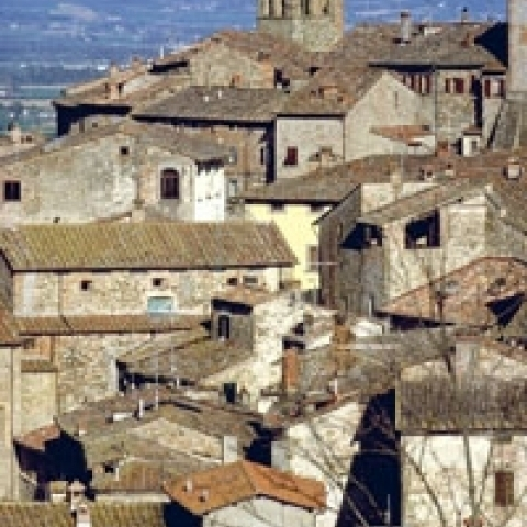 The intact medieval town of Anghiari in Tuscany Italy