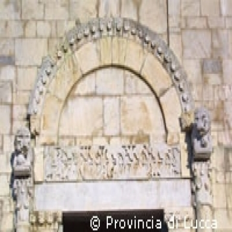 Detail of Romanesque church near Lucca Tuscany Italy
