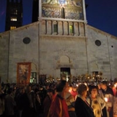 Holy Cross religious procession in Lucca Tuscany Italy