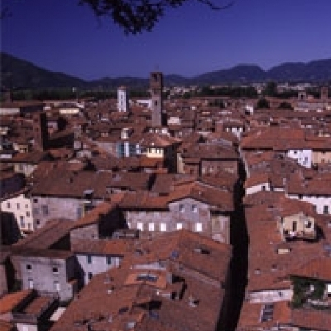 Lucca overview Tuscany Italy