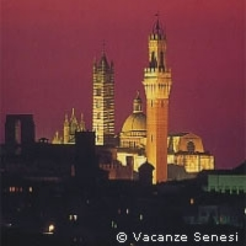 Mangia tower by night in Siena Tuscany Italy
