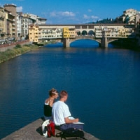 Painting on the Arno river in Florence Italy