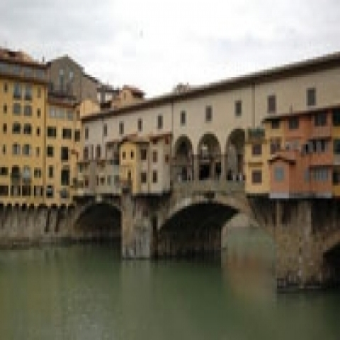 A view of Ponte Vecchio the Old Bridge in Florence Italy