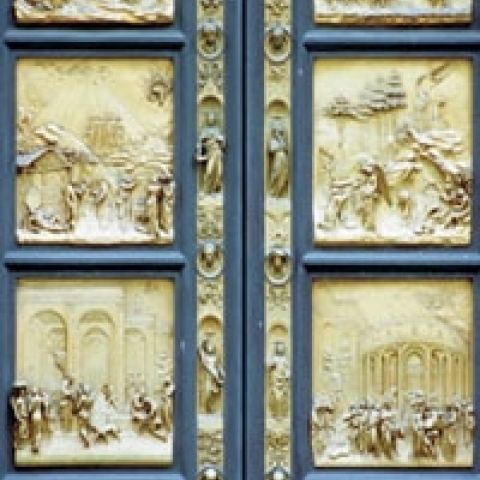 Bronze door of Baptistery in Florence Italy
