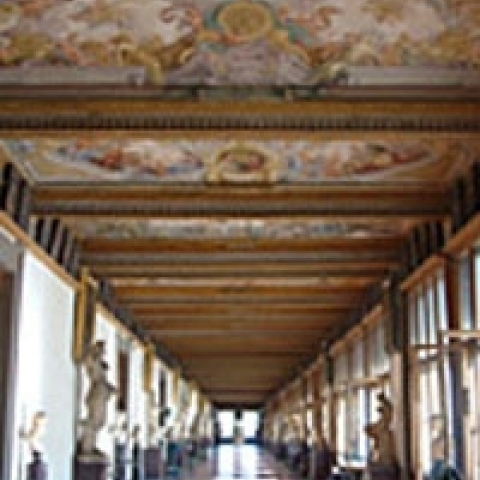 Corridor in the Uffizi Gallery Florence Italy