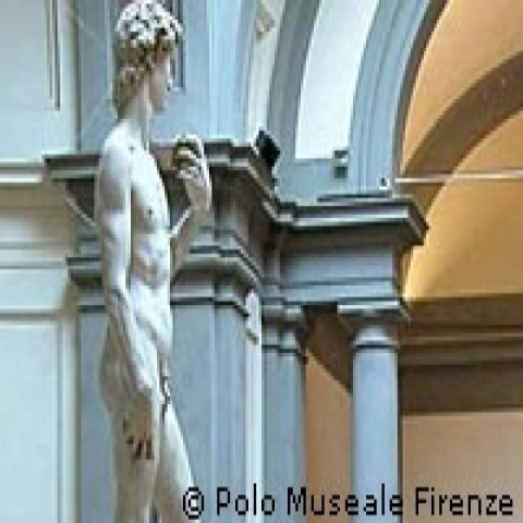 Lateral view of David by Michelangelo at Accademia Gallery Florence Italy