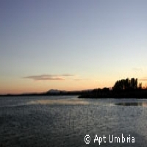 Sunset on Trasimeno Lake Umbria Italy