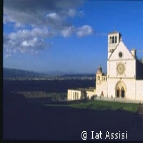 A view of Saint Francis Basilica in Assisi Umbria Italy
