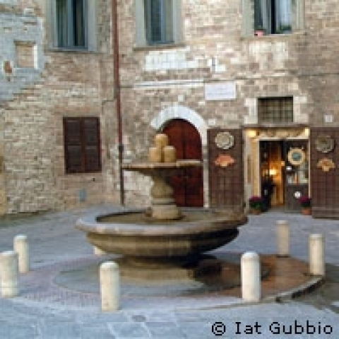 A fountain in Gubbio Umbria Italy