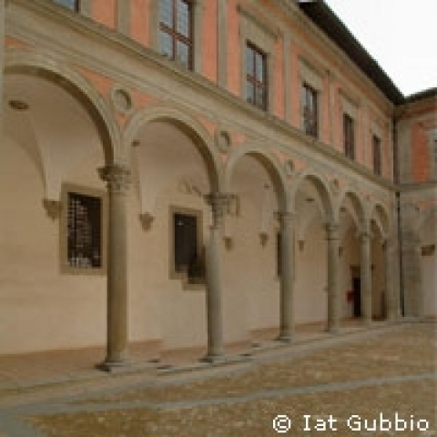 Ducal Palace courtyard in Gubbio Umbria Italy