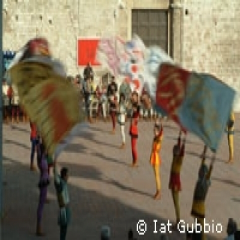 Flag flyers in Gubbio Umbria Italy