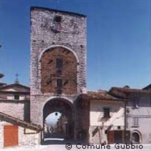 Roman city gate in Gubbio Umbria Italy