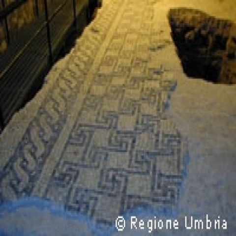A detail of a Roman mosaic in Umbria Italy