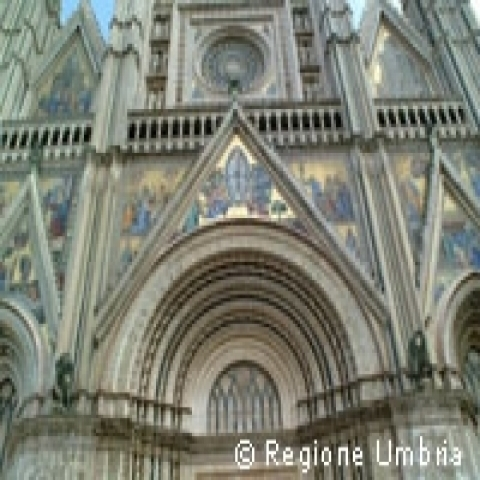 The lunette of Orvieto Cathedral Umbria Italy