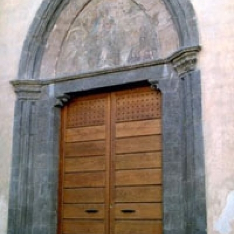 A gothic church door in Perugia Umbria Italy