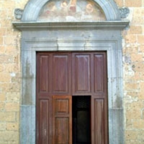 San Lorenzo church door in Orvieto Umbria Italy