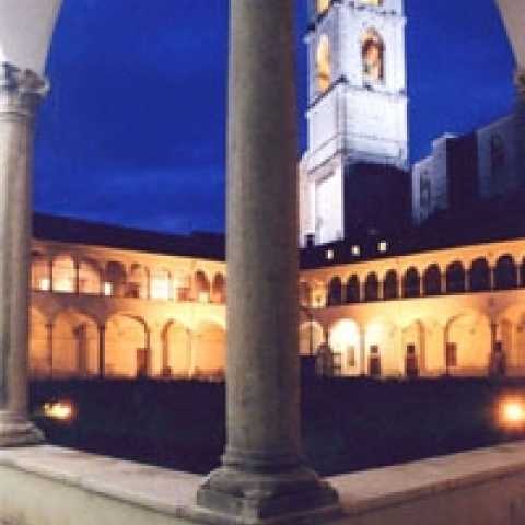 A church cloister in Umbria Italy