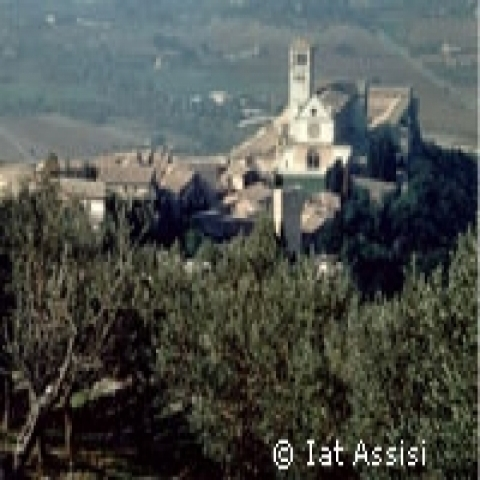 A view of Saint Francis Basilica in Assisi Italy