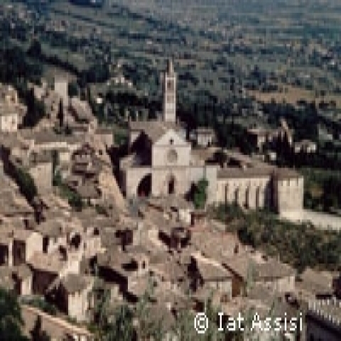 An aerial view of Assisi Italy