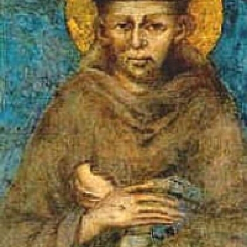 A fresco by Cimabue with Saint Francis in Assisi Italy