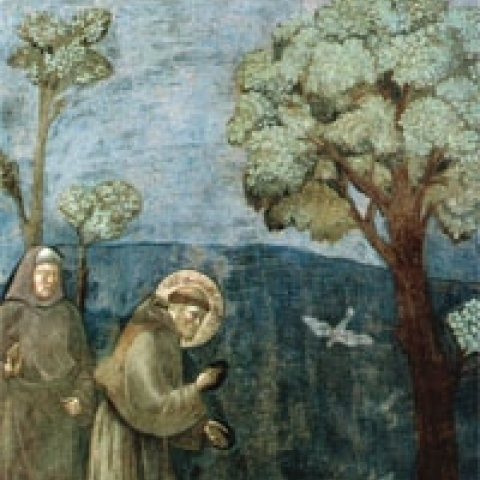 Fresco by Giotto depicting Saint Francis in Assisi Italy
