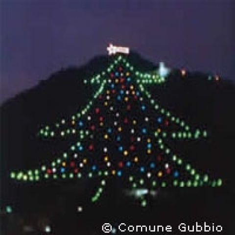 The world's biggest Christmas tree in Gubbio Italy